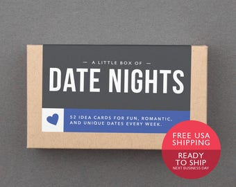 Romantic Gift. For Boyfriend, Girlfriend, Husband, Wife. Date Night Jar, Box, Cards. Ready to Ship, Free Shipping. Last Minute. (L5DAT)