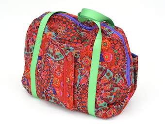 Red Millefiori Print Departure Satchel Carry on Travel Bag Special Clearance Sample Sale