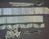 Vintage Lot of Ribbon Remnants, Pale Aqua Blue, Silk, Satin, Rayon - pre 1940s