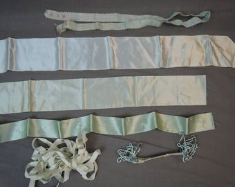 Vintage Lot of Ribbon Remnants, Pale Aqua Blue, Silk, Satin, Rayon