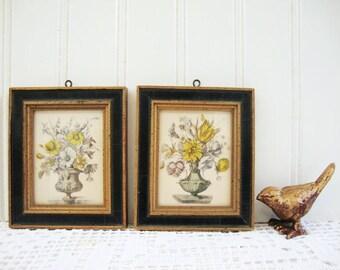 vintage miniature art framed floral prints set of 2