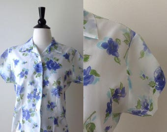 It Doesn't Get Any Bluer Blouse   1950s-60s