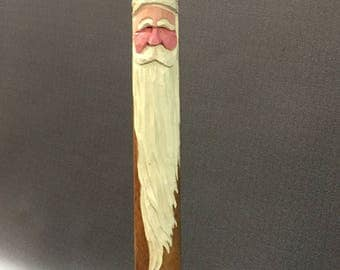 HAND CARVED Santa on an antique textile mill spool