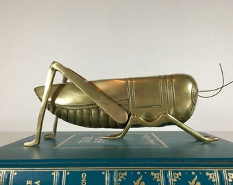 Large Brass Cricket Figurine 9 Inch - Good Luck Symbol