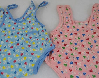 Antique Vintage Pair of Doll Rompers - Twin Outfits in Pink and Blue - Hand Made