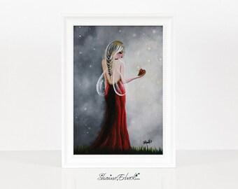 Scarlett - Fairy Art Prints - Miniature Prints - Home Decor Ideas - Wall Art - Red Art - Colorful Prints - Heart Pictures - Haute Couture