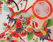 Cranes in Flight // Traditional Florals // Vintage Kimono Fabric // Last Piece!