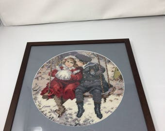 Vintage Boy and Girl winter Needlepoint / Petit Point Professional Framed