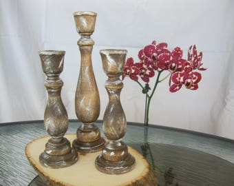 Set of 3 Custom Distressed Candle Holders. Great for Home Decor, Rustic Cabin Theme And A Great Reception Centerpiece Decoration - Item 1336