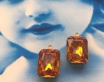 Vintage CZECH Crystal Topaz Amber In a Brass Prong Setting or part of an Gold Plated Earring kit 13 x18mm 225GOL x2