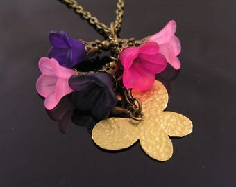 Boho Necklace with Lucite Flowers, Boho Jewelry, Bohemian Jewelry, Lucite Necklace, Pink and Purple Necklace, Butterfly Pendant, N1201