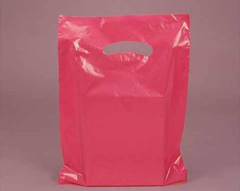 CLEARANCE sale 50 Pack Hot Pink Opaque Cut Out Handle 12 X 15 Inch Size Retail Merchandise Plastic Bags