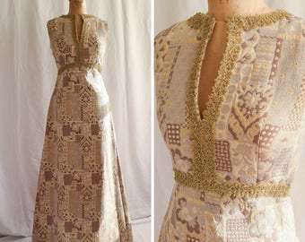 Petra | Vintage 1960's Maxi Dress Gold Woven Brocade with Tinsel Trim Plunge Neck Cocktail Dress 60s Boho Chic Full Length Gown Bust 34