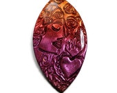 Polymer Clay Marquise Focal Cabochon Artisan Bead Embroidery Pendant Multicolor Cab Handcrafted Bead Jewelry Making