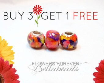Remembrance Jewelry/Made with Funeral Flowers/SAVE up to 50.00/Pet Memorial/Handmade Bead/Memorial Beads/Large Hole Charm/ Round BOGO