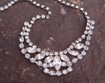 Vintage Rhinestone Choker Necklace, Choker Necklace, Prom Necklace, Clear Rhinestone Necklace, Bridal Necklace, Choker Rhinestone Necklace