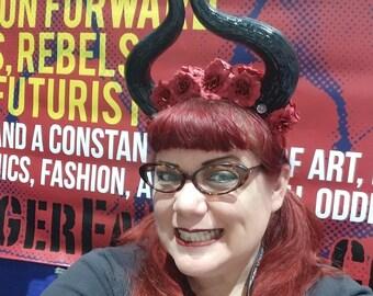 Maleficent, Horns, Horn headdress, Flower crown, Red and black, Halloween, Black horns, flower crown