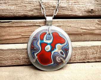 Fordite jewelry, Detroit Agate necklace, fordite necklace, statement necklace, gift for her, gift for wife, gemstone jewelry, red