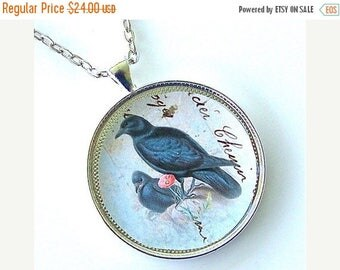 ON SALE Black Raven Mother & Child Baby Bird Victorian Pendant