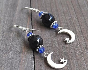 ON SALE Silver Moon & Star Earrings Crescent Moons Micro Faceted Black Onyx Gemstone Beads and Blue Crystal Beads Sterling Silver Earwires