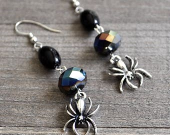 Silver Spider Earrings Gothic Style Black Crystal & Glass Beads Sterling Silver Ear Wires