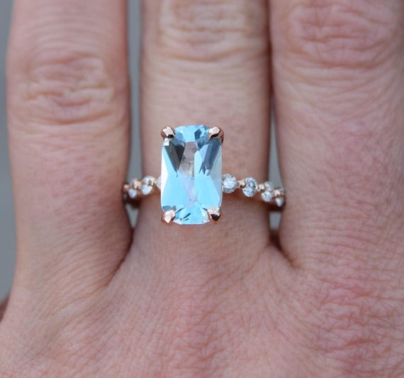 Aquamarine Ring 14k Rose Gold Ring 2.75ct Carribean Blue Green emerald cut aquamarine engagement ring