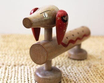 Dirk the Doxie. Vintage wooden dog figurine to hold snacks at parties.