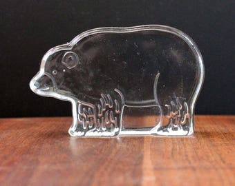 Dansk Bear Crystal Zoo paperweight. Mid century modern design by Naiad Einsel.