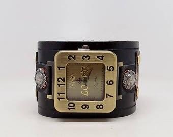 Steampunk watch. Men watch. Quartz watch.Leather cuff watch.