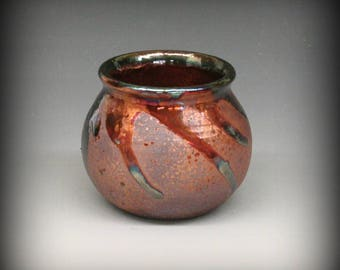 Raku Pot with Metallic Iridescent Colors