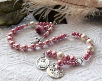 Rose Pink & Ivory Divine Mercy Chaplet W/Charms Saints/Cross/Madonna/Christ