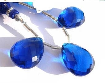 50% Off Sale 3 Piece Set - AAA Cobalt Blue Quartz Faceted Pear Briolettes 20x15mm approx Matched Pair and a Focal Pendant