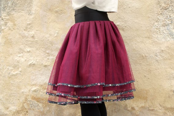 Tulle skirt pleated original Burgundy Tulle petticoat skirt