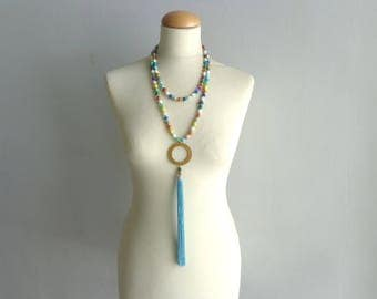 Colorful bib statement necklace, colorful tassel necklace