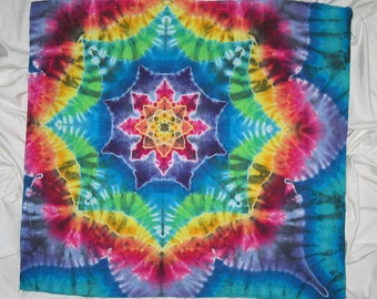 Bandana, New larger size 25 inches x 27 inches, mandala bandanna, hand tied & dyed by grateful dan dyes