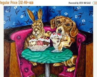 20 % off storewide Bunny and Beagle at the Ice Cream parlor Animal Art Print