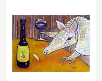 20 % off storewide Armadillo at the Wine Bar Animal Art Print