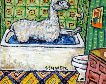 20% off alpaca bathroom animal art tile coaster  JSCHMETZ modern abstract folk pop art AMERICAN ART gift