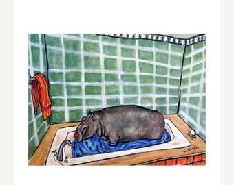 20% off Hippopotamus Taking a Bath Hippo Art Print