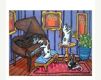 20% off Basset Hound Trio Dog Art Print