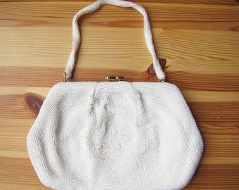 25% Off Sale 50s Magid Japan White Pearl Beaded Handbag, Medium Size, Bridal Purse, Evening Bag