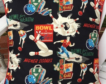 "Retro Bowling Pillow Cover, Alexander Henry ""Bowl For Health"" Pillow, Retro Bowling Decor"