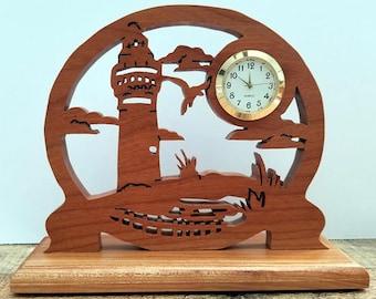 Solid Oak Lighthouse Desk Clock