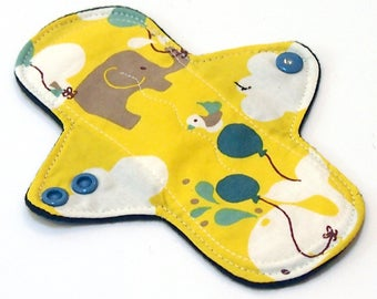 "ORGANIC 7"" Light Flow Reusable Cloth Menstrual pad- pantyliner - bamboo/cotton core- Windpro - quilter's cotton in ""Frolic - Up Up & Away"""