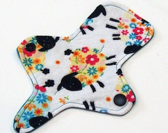ULTRATHIN Reusable Cloth Pad 7 inch Adjustable Thong liner - Rainbow Ewe - Cotton flannel top