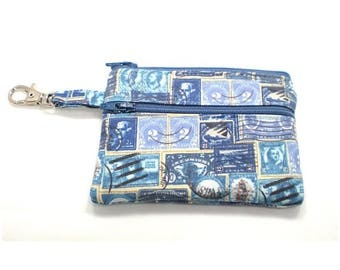 Summer Clearance Small Zippered Wallet Change Purse Gadget Case  Blue Stamps