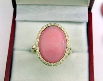 AAAA Pink Opal 18 x 13mm  6.00 Carats   14K Yellow gold Diamond halo cabochon ring. 1517F