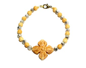 Bohemian carved bone flower and silver beaded stackable bracelet