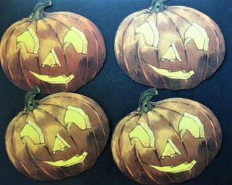 4X Vintage Double Sided Die Cut Jack-O-Lanterns or Pumpkins, Eery Facial Expression, Holes for Hanging, Halloween Decor