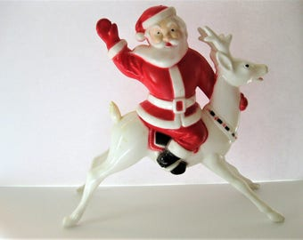 Vintage Large Plastic Santa on Reindeer, Candy Holder, One Piece Plastic Christmas Decoration, 1950s